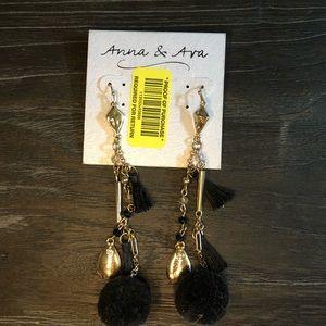 Anna & Ava Black/Gold Drop Pom Earrings